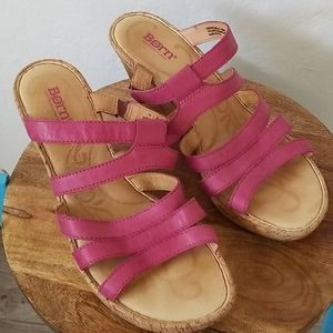 Women's Born Pink Leather Upper Wedges Size 11